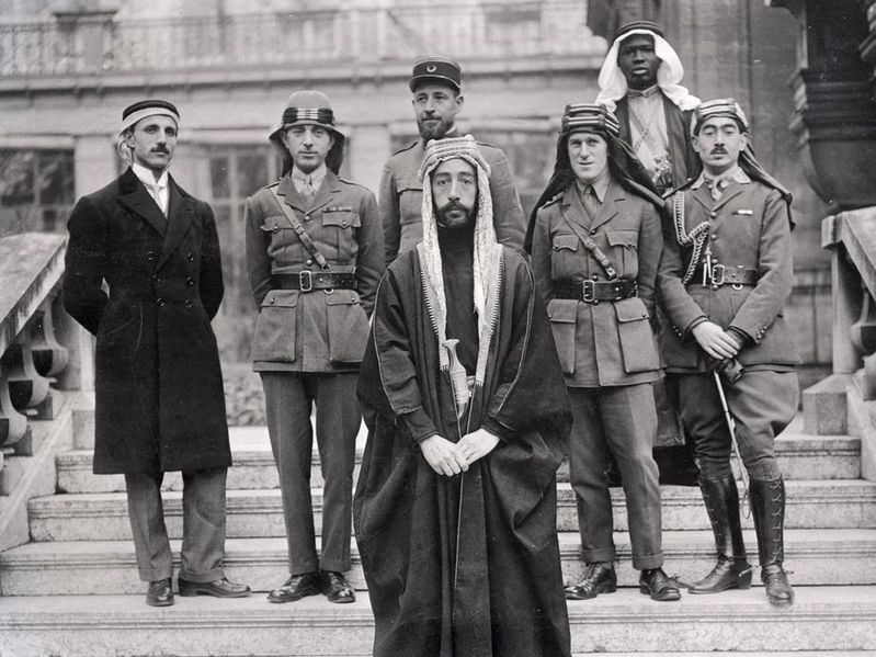 Emir Faisal's party at Versailles, during the Paris Peace Conference of 1919.jpg